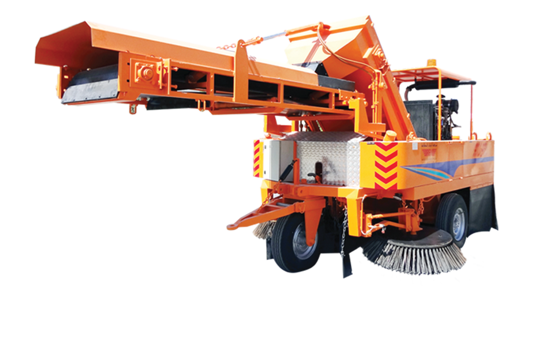 Tow sweeper with belt conveyer